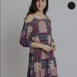 American Eagle Patchwork Boho Cold Shoulder  Dress